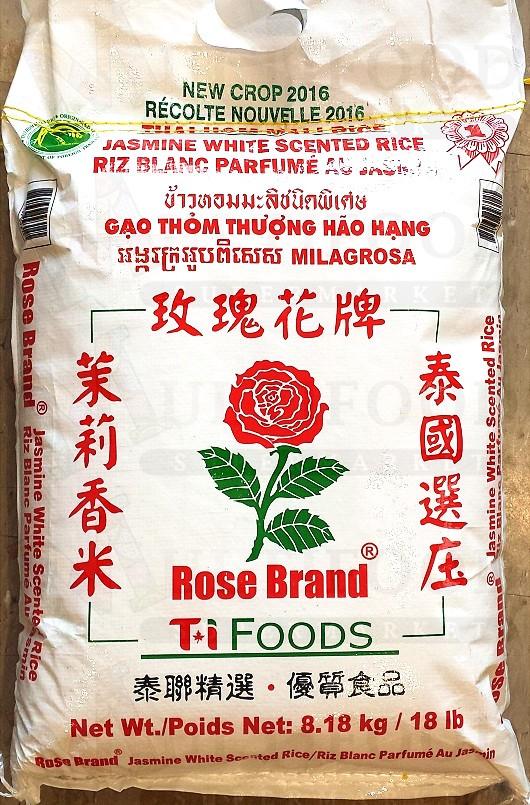 Rose Brand Jasmine White Rice玫瑰花牌,茉莉香米8.18KG,18LB