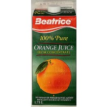 BEATRICE 100% PURE ORANGE JUICE 1.75L